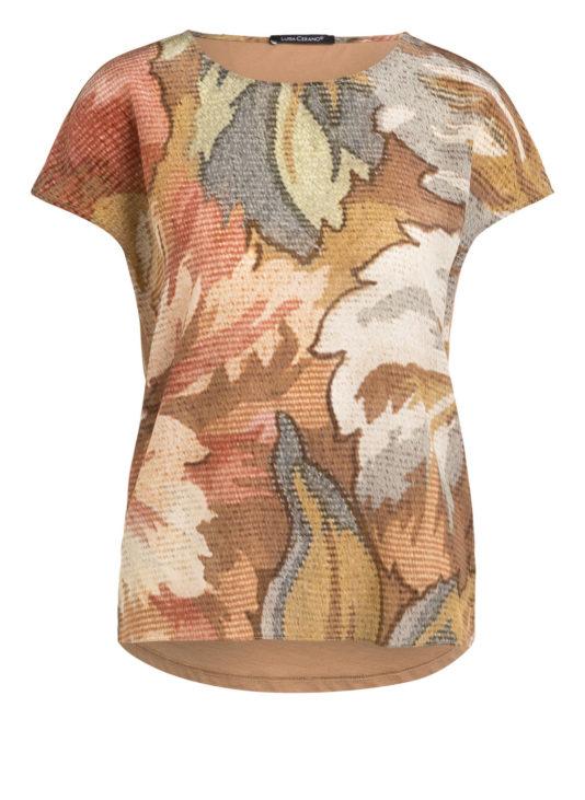 t-shirt jedwabny luisa cerano kwiatowy print jasnobrazowy