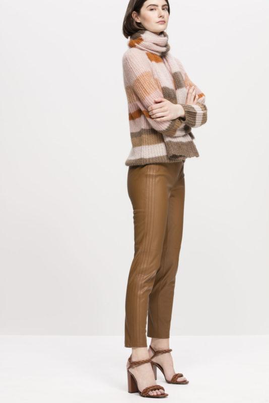 spodnie z eco skóry luisa cerano kolor kawa latte