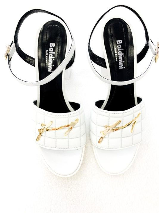 sandały baldinini białe gold skóra butik luisa bydgoszcz