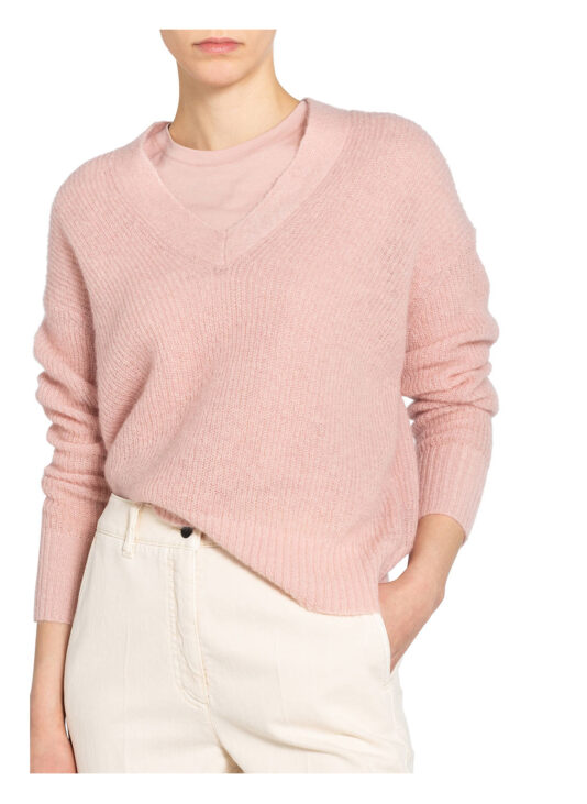 sweter luisa cerano różowy puszysty dekolt w serek butik luisa bydgoszcz
