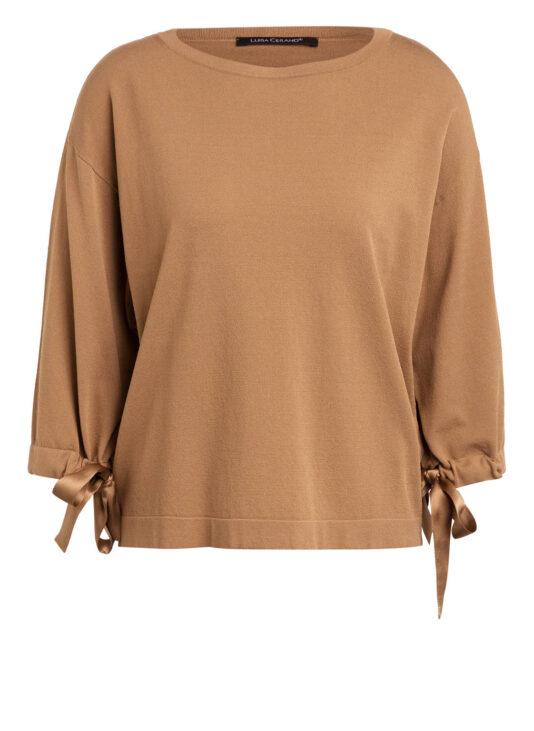 sweter luisa cerano jasnobrazowy rekwy 3/4 wiazania na mankietach butik luisa