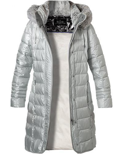 płaszcz modowy milestone kurtka damska pikowana srebrna z kapturem parka butik luisa bydgoszcz