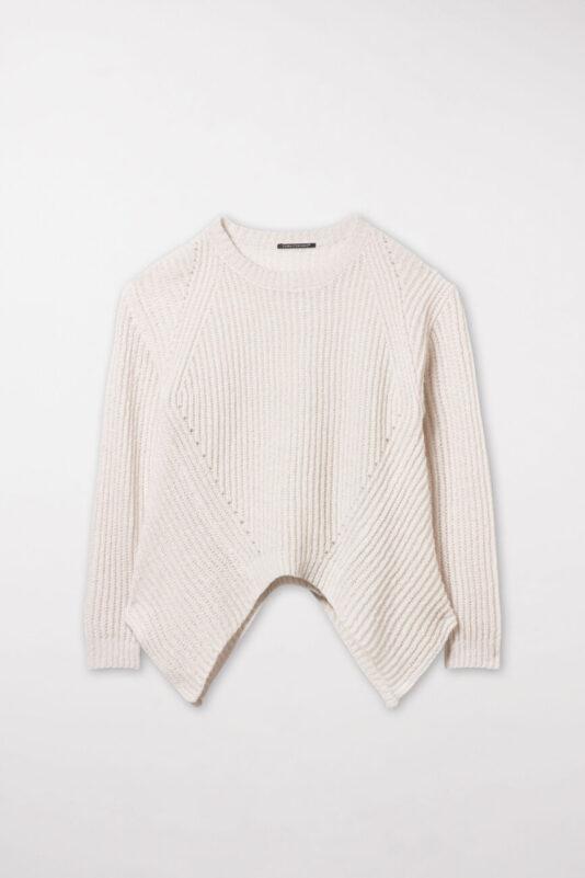 sweter damski luisa cerano kolor ivory rozcięty miły w dotyku