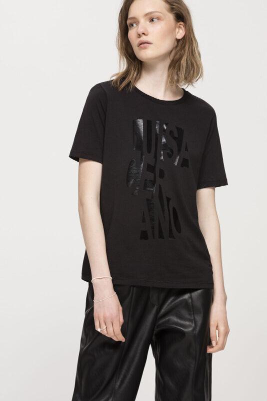 t-shirt damski luisa cerano butik luisa bydgoszcz z logiem czarny kolor