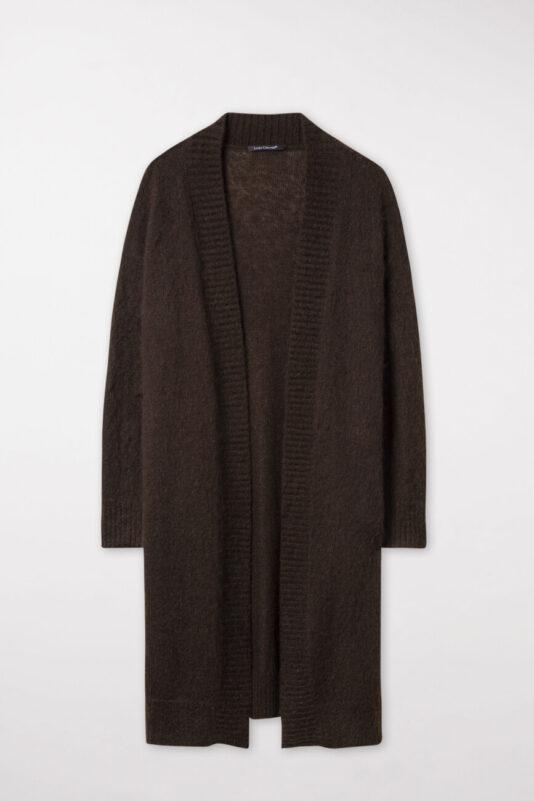 kardigan długi sweter kolor czekoladowy butik luisa bydgoszcz rozpinany