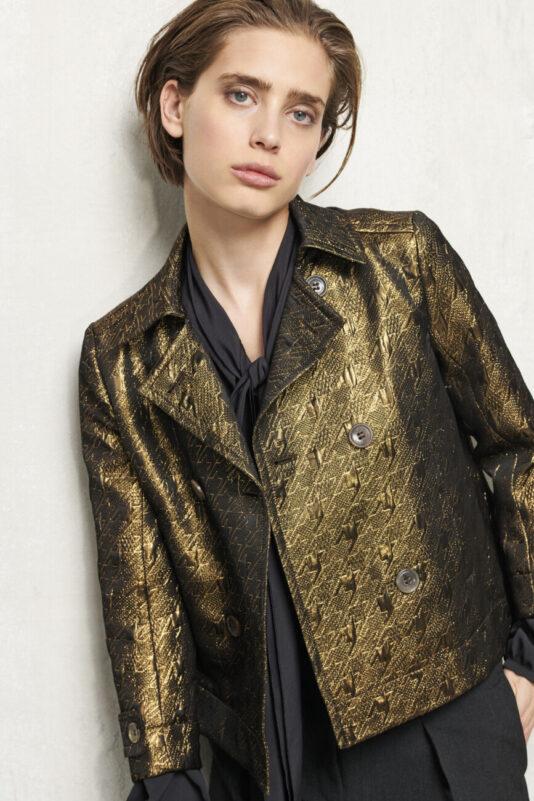 marynarka damska trencz złota dwurzedowa elegancka butik luisa bydgoszcz