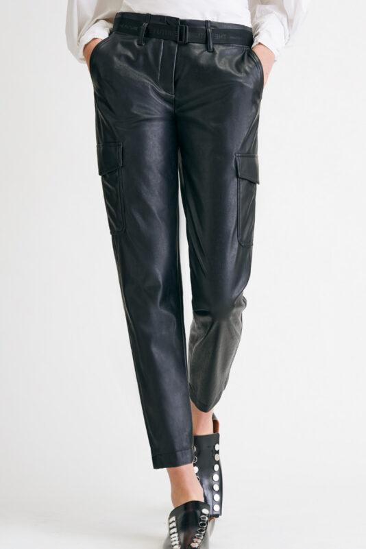 spodnie damskie czarne z ekoskóry cambio butik luisa bydgoszcz