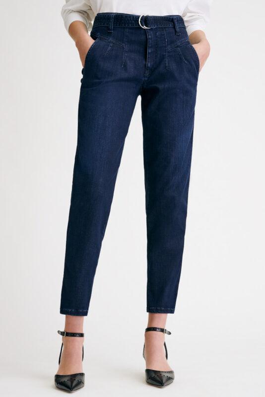 spodnie cambio damskie wysoki stan z paskiem butik luisa bydgoszcz granatowe