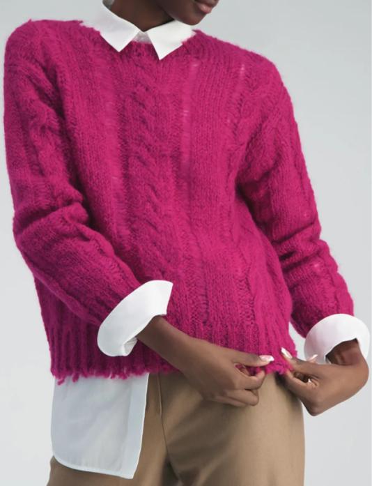 sweter damski kolor fuksja butik luisa bydgoszcz wełniany casual