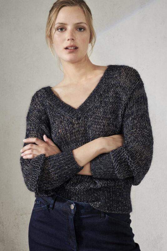 sweter-luisa-cerano-damski modowy dekolt V kolor granatowy butik luisa bydgoszcz