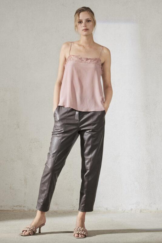 top-luisa-cerano-jedwabny z koronką długi tył butik luisa bydgoszcz pudrowy róż