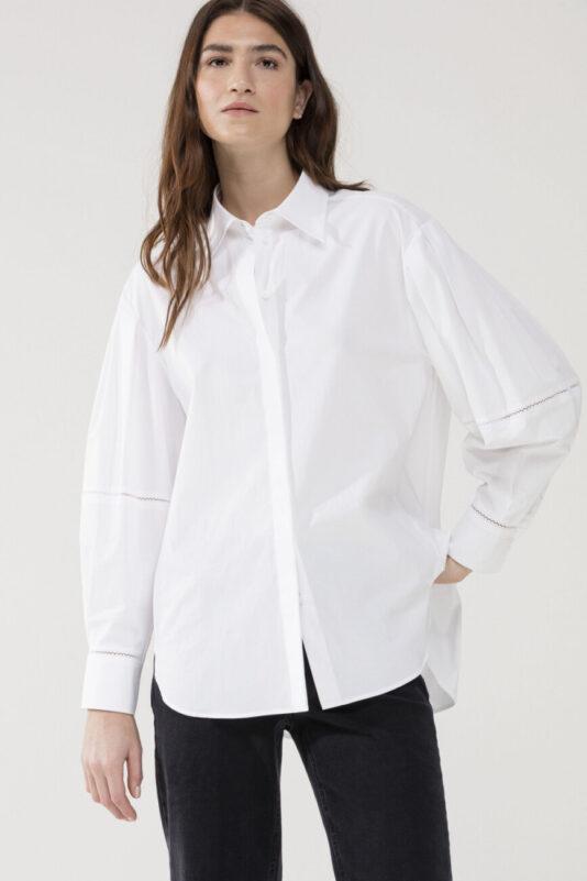 bluzka damska luisa cerano rozkloszowana biała zdobiona elegancka butik luisa bydgoszcz