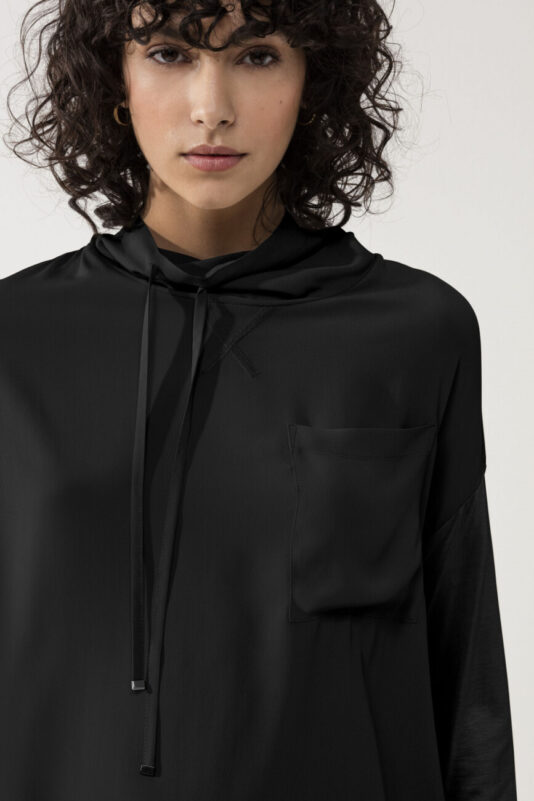 bluzka luisa cerano damska z kapturem czarna elegancka