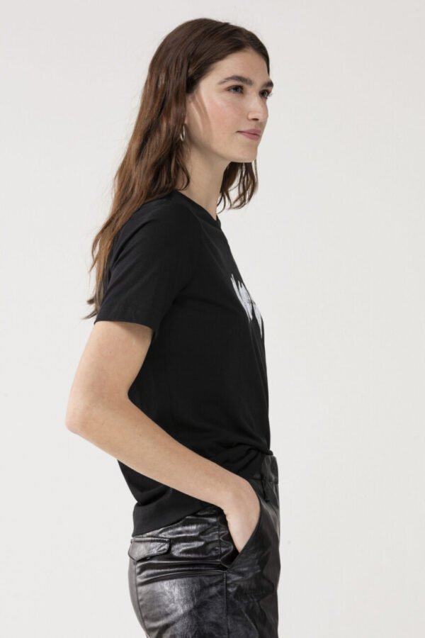 t-shirt luisa cerano czarny kolor z nadrukiem damski krótki rekaw butik luisa bydgoszcz