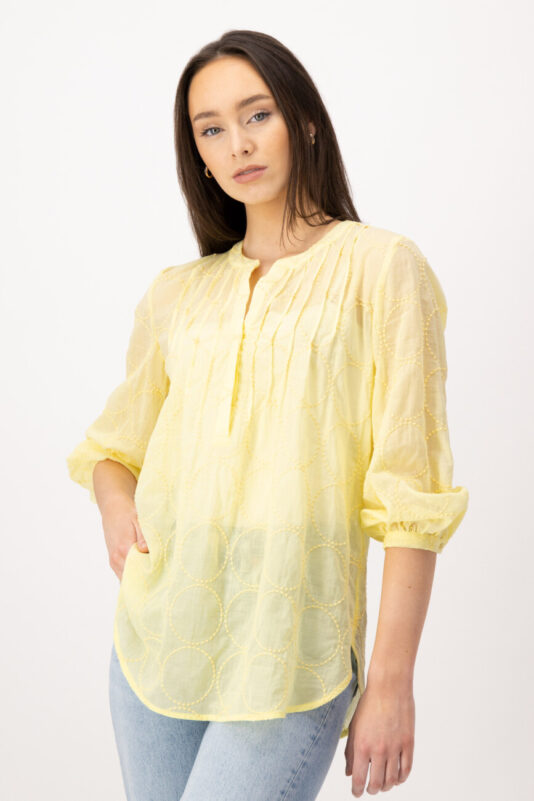 bluzka-louis-and-mia-tunika damska letnia żółta butik luisa bydgoszcz z haftem
