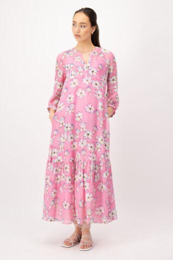 suknia-louis-and-mia-wiosenna różowa w kwiaty lekka butik luisa bydgoszcz