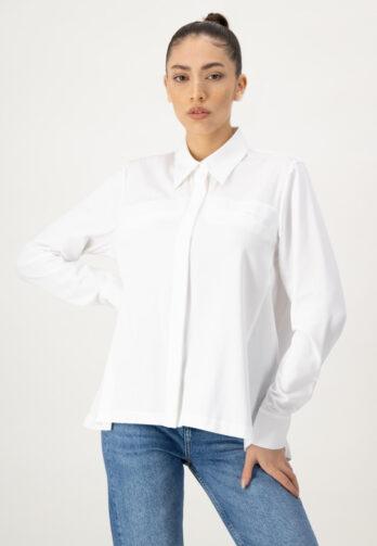 bluzka-louis-and-mia biała bluzka z długim rękawem z kieszeniami na piersi z ekspozycyjnej bawełny