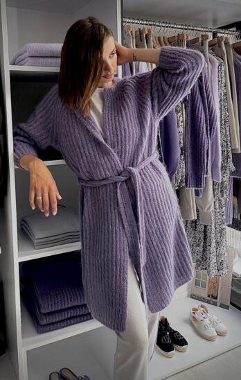 kardigan-luisa-cerano fioletowy długi otwarty miły modowy elegancki butik luisa bydgoszcz